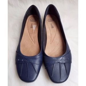 37714a9e064 Clarks Shoes - Clark s Blanche Fria Navy Leather Flats